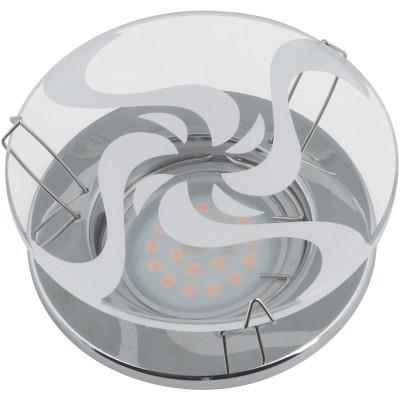 DLS-S201 стекло хром, отделка прозр. стекло с белым рисунком GU5.3, 10753