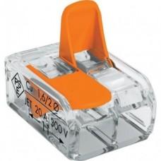 Клемма  2 отверст., SBE-ccwcc-2 прозрачная с рычажками (100)