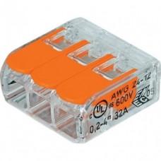 Клемма  3 отверст., SBE-ccwcc-3 прозрачная с рычажками (100)
