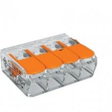 Клемма  4 отверст., SBE-ccwcc-4 прозрачная с рычажками (100)