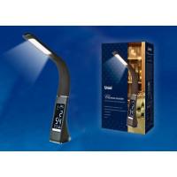 Светильник настольный Uniel TLD-542 LED 300Lm 5W/5000K/Dimmer черный часы,календарь,термометр(1/8)