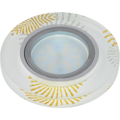 DLS-P200 стекло хром/белый, отделка стекло с зол. и сереб. на бел.фоне GU5.3, 09996