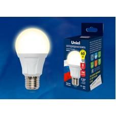 Лампа   Uniel  А60  LED (8W) 220V/4000K/E27 700Лм, сделана в РОССИИ (1/100)