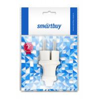 Вилка Smartbuy прямая с/з евро, 16А, белая SBE-16-P01-W