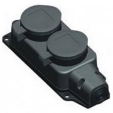 "Колодка РБ32-1-0м ""ОМЕГА"" 2 розетки с защитными крышками (каучук) РБ32-1-0м IP44"