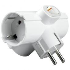 Тройник  Uniel сетевой с выкл. с/з евро, 16А, белый 1*BL, S-GES3-16ТВ