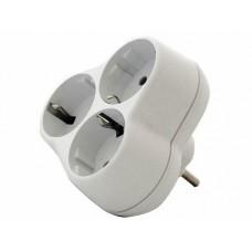 Тройник Smartbuy евро с/з 16А, ромашка, белый 1*BL, SBE-16-A01-3z