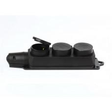 Колодка Smartbuy ОП 3гн. с/з евро, 16А, каучуковая с крышкой, SBE-16-3-00-R
