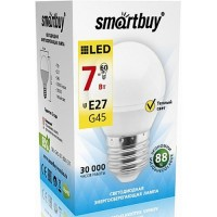 Лампа  Smartbuy Шар G45 LED (7W) 220V/3000К/E27