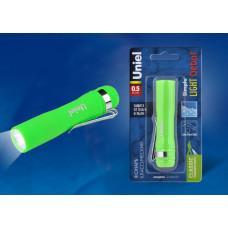 Фонарь Uniel пластиковый, 0,5W LED, 1*АА, зеленый, 1*BL, S-LD045-B