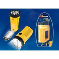 Фонарь Uniel прожектор, пластиковый, 7+5LED, 3*ААА, желтый, S-SL014-C (1/10)