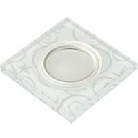 DLS-L203 металл. хром, отделка стекло с серебром на белом фоне, с св.подс. 3Вт, GU5.3, UL- 00000378