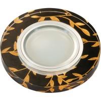 DLS-L204 металл. хром, отделка стекло золото на черном фоне, с св.подс. 3Вт, GU5.3, UL- 00000379