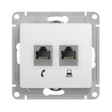 Розетка  комп.+тел. Schneider Electric GLOSSA GSL000185 RJ11+RJ45, кат.5Е механизм бел