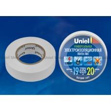 Изолента  Uniel 19/20 бел (10/200)