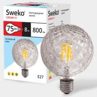 Лампа Sweko Шар G95 LED (8W) 220V/4000K/E27-CRCL (прозрачный шар кристалл)