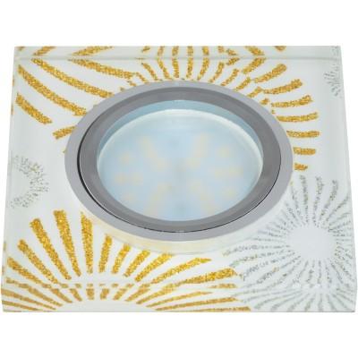 DLS-P201 стекло хром/белый квадрат., отделка стекло с зол. и сереб. на бел.фоне GU5.3, 09997