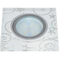 DLS-P203 стекло хром/белый квадрат., отделка стекло с сереб. на бел.фоне GU5.3, 10127