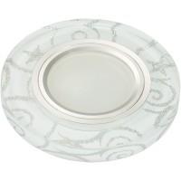 DLS-L202 металл. хром, отделка стекло с серебром на белом фоне, с св.подс. 3Вт, GU5.3, UL- 00000377